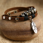 Ethnic Tribal Leather Surfer Bracelet LB021