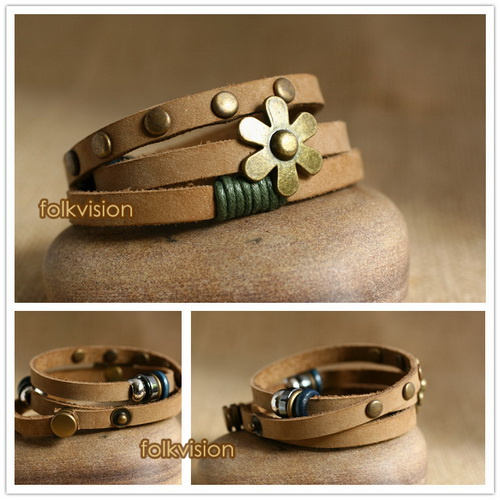 Ethnic Tribal Leather Surfer Bracelet LB144 - Click Image to Close