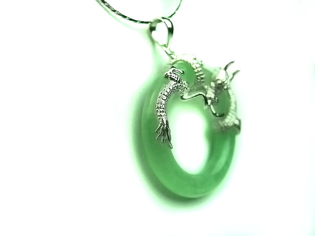 Unique Chinese sterling silver and jade Necklace JD020 - Click Image to Close