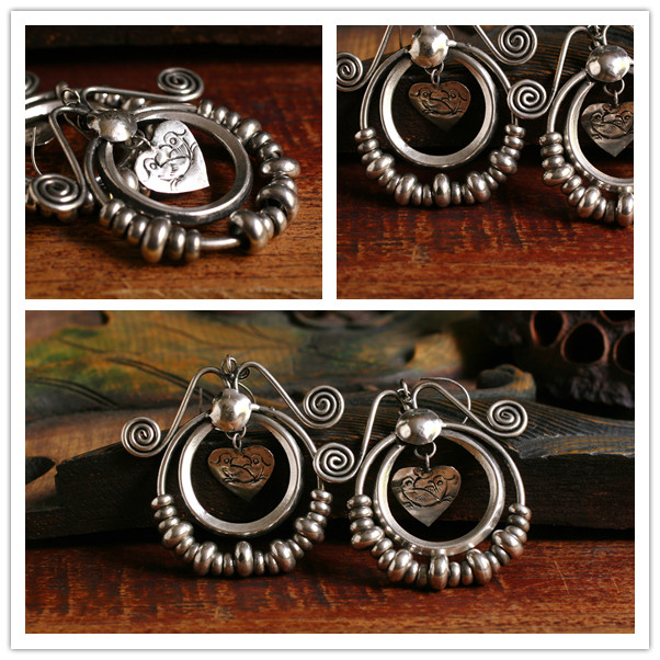 Ethnic Tribal Miao Handmade Earrings JE322 - Click Image to Close