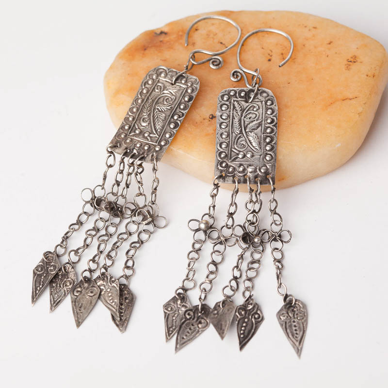Ethnic Tribal Miao Handmade Earrings JE325 - Click Image to Close