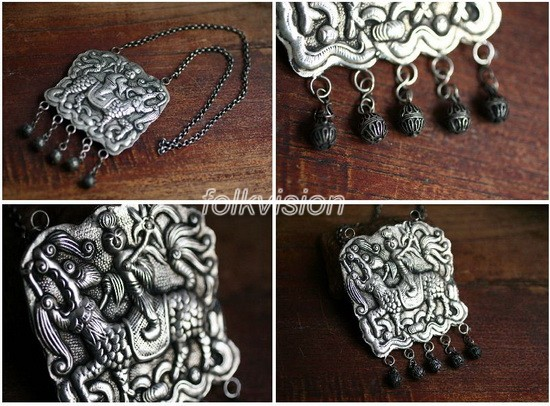 Tribal Miao Handmade Pendant Necklace MN071 - Click Image to Close