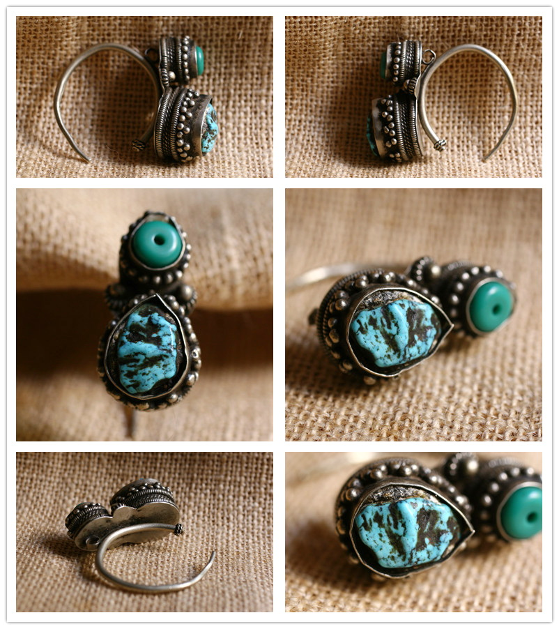 Old Tibetan Miao Handmade Earrings JO058 - Click Image to Close