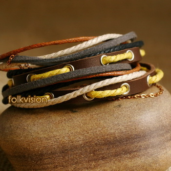 Ethnic Tribal Leather Surfer Bracelet LB094