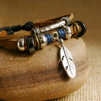 Ethnic Tribal Leather Surfer Bracelet LB098