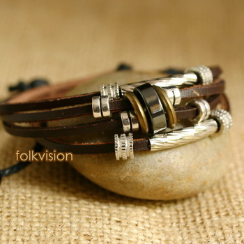 Ethnic Tribal Leather Surfer Bracelet LB143 - Click Image to Close